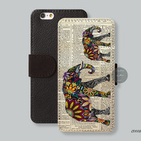 iPhone 6 case tribal aztec elephant Card slot Wallet iPhone 6 plus case, Phone cover Leather Wallet iPhone 5s case iPhone 5c case - C00020