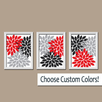 Wall Art Canvas Artwork Red Black Gray White Flower Burst Dahlia  Set of 3 Trio Prints Wall Decor Bedroom Bathroom Three