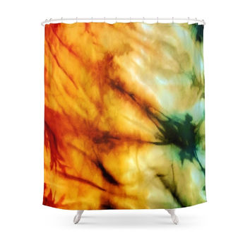 Society6 Green Tie Dye Shower Curtains