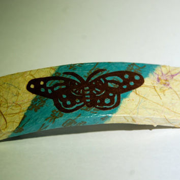 Butterfly Hanji French Barrette Hair Pin Beige Teal Brown Sturdy Stainless Steel Handmade Thick Hair Pin