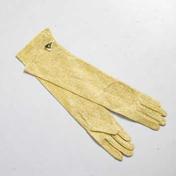 Vintage 1950s Gloves - GOLD LAME Long Evening Length 6 1/2