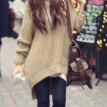 Solid Color Knited High-Low Hoodie Sweater