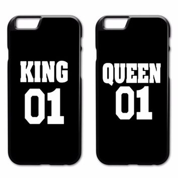 King Queen Couple Case for iPhone 4 4S 5 5S 5C SE 6 6S 7 8 Plus X Samsung Galaxy S3 S4 S5 Mini S6 S7 S8 S9 Edge Plus A3 A5 A7