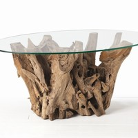 ARTERIORS Home Kingston Driftwood Oval Cocktail Table in Distressed Natural Brown - 5413