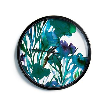 "Ebi Emporium ""Petal For Your Thoughts Teal"" Turquoise Green Modern Wall Clock"