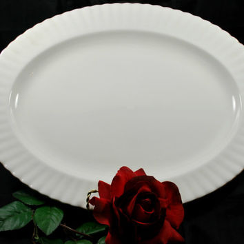 Oval Plate Pure White Porcelain  Royal Albert Val D'Or England , Wedding Serving Dish