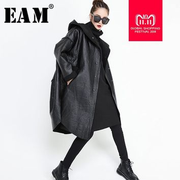 [EAM] 2018 New Autumn Winter Hooded Long Sleeve Black Pocket Split Joint Thicken PU Leather Jacket Women Coat Fashion Tide JG637