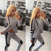 Women Casual Bodycon Fashion Multicolor Irregular Stitching Long Sleeve Trousers Set Two-Piece Sportswear