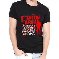 Attention Zombies-Round Neck Men Tees 100% Cotton T-shirt-Zombies T-Shirt