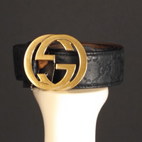 GUCCI-Black Monogram Leather Belt, Size-34 to 38""