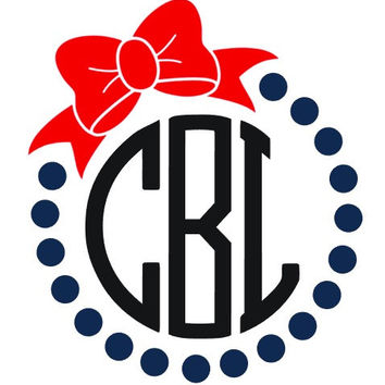 Dot Border and Bow Monogram Decal Add Personality to Christmas Gifts, Great personal Gift, Gift Wrap Option, Personalize So Many Things