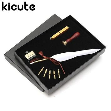 LMFN3C Kicute Antique Pure Goose Feather Quill Dip Pen Fountain Pens Writing Ink Set Rare Stationery Gift Box With 5 Nib Wedding Gift