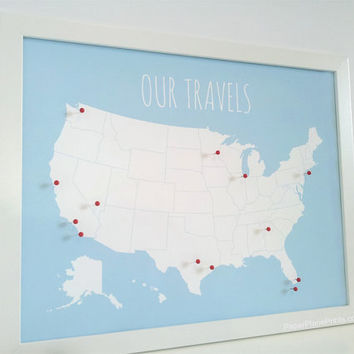 Travel Map Pin Board, USA Pinnable Map - DIY Kit with Pins, Red or Gold - Cork Board - Personalized Options Available - 11x4 Inches