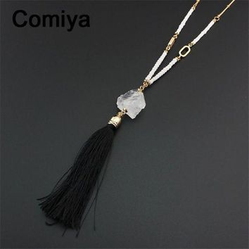 ONETOW Collares long white beads bijoux crystal pendant black rope tassels populares fashion pendants & necklaces statement collier