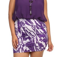 Swirl Print Chiffon Mini Dress - Purple - Plus Size