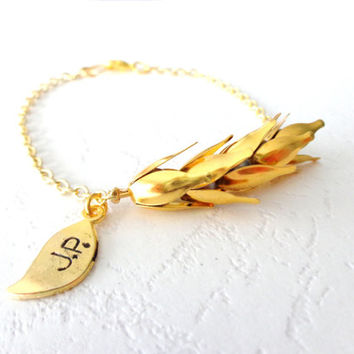 Gold personalized wheat bracelet with initials