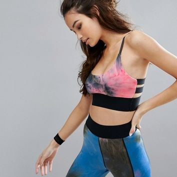 PrettyLittleThing Tie Dye Gym Bra at asos.com