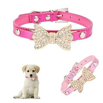 Pet Dog Cat Puppy Fashion Faux Leather Bling Rhinestone Bowknot Necklace Collar