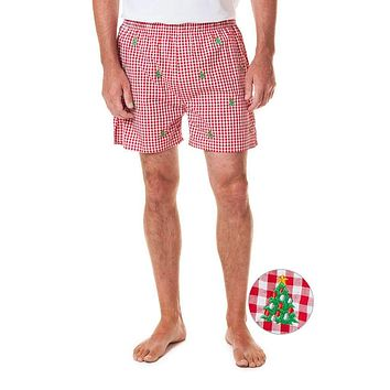 Gingham Barefoot Boxer with Embroidered Christmas Trees by Castaway Clothing