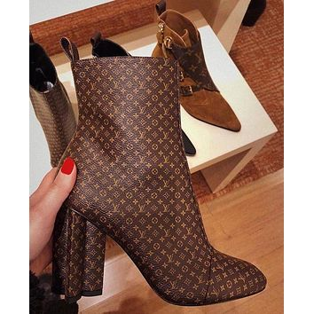 LV Boots Louis Vuitton Monogram print Shoes High heel high tops Shoes