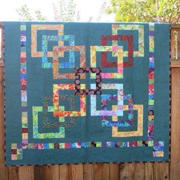 All Tangled Up Large Wall Hanging or Lap Quilt - Kaffe Fabrics Modern Inspired Quilt