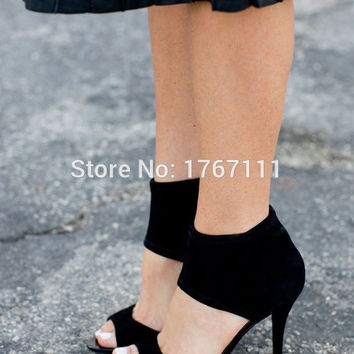 2016 New Fashion Women's Open Toe Sandals Sexy Queen cut-out Stiletto High Heels Sandals Black Wedding Shoes Drop Shipping