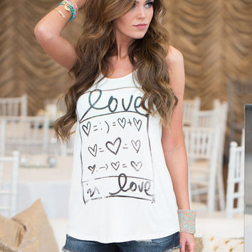 Love is Love Equation Tank Ivory