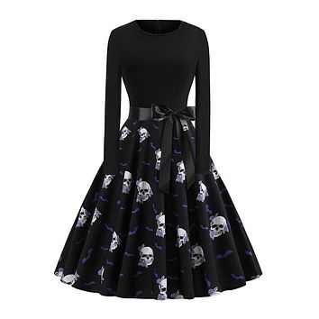 Vintage Women Skull Print Fashion Elegant Black Dress