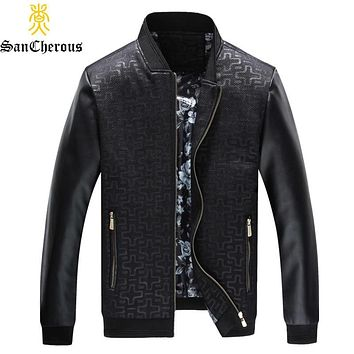 2019 New Motorcycle Leather Jacket Stand Collar Casual Zipper Multi-pocket Fit Outwear Warm Coat Autumn Men Jacket