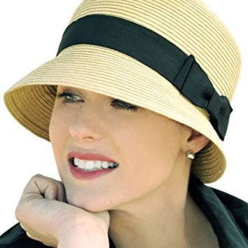 April Cloche Chemo Hat for Cancer, Hair loss and Alopecia - White with Black Bow
