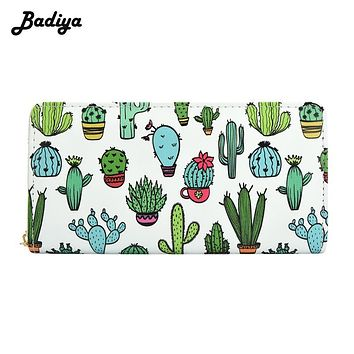 Fashion Wallets Women Cute Pattern Cactus Prints Phone Bag Purses Ladies Zipper Coins Purses Female Carteras Feminina Clutches
