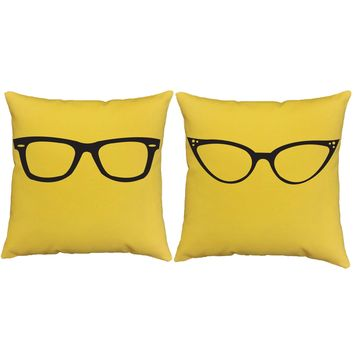 Only Have Eyes for You His and Hers Glasses Throw Pillows