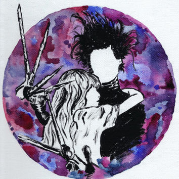 Edward Scissorhands 9x12 Painting Watercolor Acrylic Painting Johnny Depp Tim Burton Wall Home Decor Wall Art Hipster
