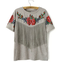 Floral Fringe Rose Top