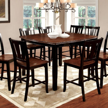 Furniture of america CM3326BC-PT-7PC 7 pc dover ii two tone vintage black cherry finish wood counter height dining table set