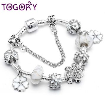 TOGORY New Arival White Magnolia Bloom Beads For Women Silver Charm Bracelets Fit European Women Pandora Bracelets & Bangles