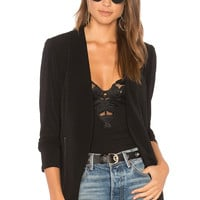 BCBGeneration Zipper Front Knit Tuxedo Blazer In Black