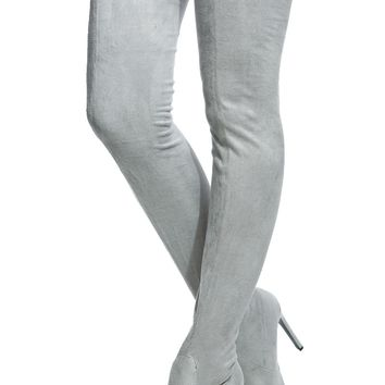 Light Grey Faux Suede Thigh High Pointed Toe Boots @ Cicihot Boots Catalog:women's winter boots,leather thigh high boots,black platform knee high boots,over the knee boots,Go Go boots,cowgirl boots,gladiator boots,womens dress boots,skirt boots.