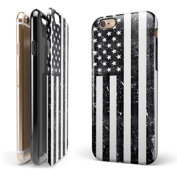Grunge Black and White American Flag 2-Piece Hybrid INK-Fuzed Case for the iPhone 6/6s or 6/6s Plus
