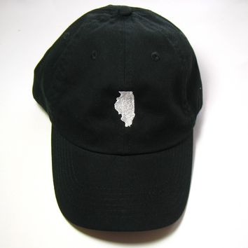 Illinois Hat - Classic Dad Hat  - White and Black - All States Available