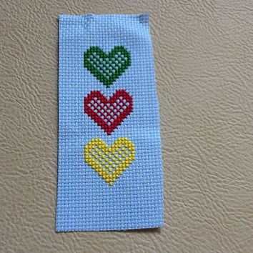 Cross Stitch Bookmark, Heart Bookmark, Cross Stitch Marker, Heart Page Marker, Personalised Bookmark, Embroidery Bookmark, Book Lover Gift