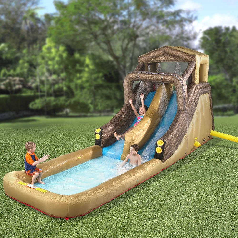 The inflatable backyard log flume from hammacher schlemmer - Outdoor decoratie zwembad ...