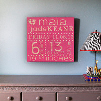 Birth Announcement Sign-Birth Announcement Wall Art-Baby Name Sign-Newborn Birth Stat-Baby Name Art-Baby Gift-Wood Engraved-Choice of Color