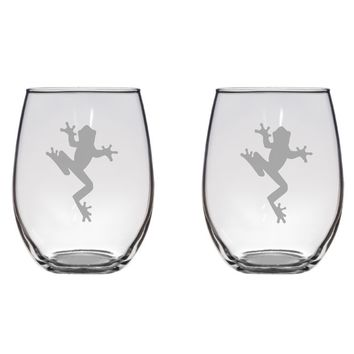 Tree Frog Engraved Glasses Frog, Cute, Gift Free Personalization