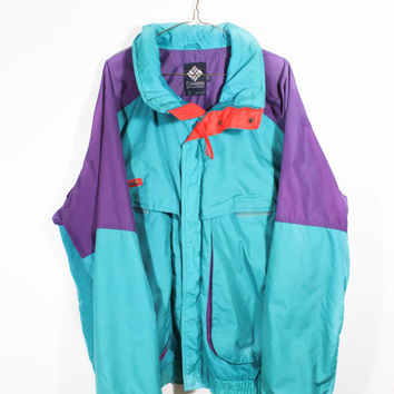 Sweet Vintage 90's Purple And Teal Columbia Waterptoof Shell Winter Ski Jacket Coat XL