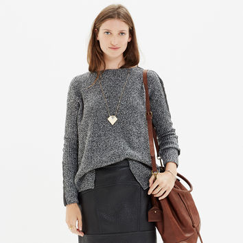 Leather-Stripe Marled Sweater