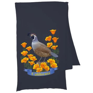 California State Bird Quail & Golden Poppy Scarf