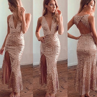 New Women's Sexy Deep V-Neck Backless Sleeveless Sequins Dress Slim Fitting Bodycon Cocktail Party Club Long Dresses Gown