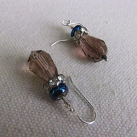 Royal Blue Glass and Amethyst Crystal Sterling Silver Earrings