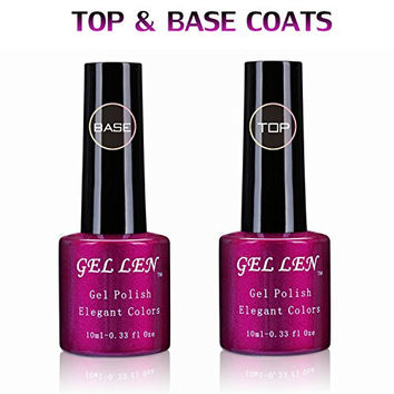 Gellen Top Coat & Base Coat Set 10ml 0.33 Oz Each for Soak Off Gel Polish Quick Dry Long Lasting
